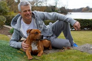 nick freeman with his staffy, george